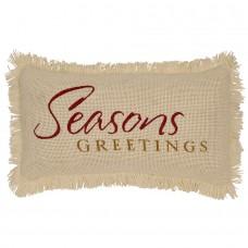 Creme Burlap Seasons Greetings Pillow
