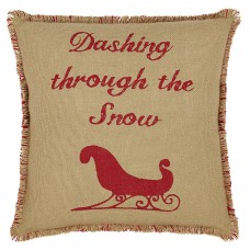 Natural & Red Burlap Sleigh Pillow