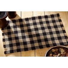 Burlap Black Check Placemat Set of 6