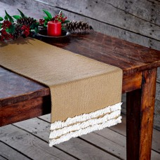 Burlap Natural & Creme Voile Table Runner