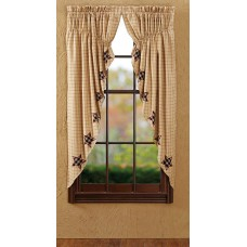 Bingham Applique Star Prairie Curtain Set