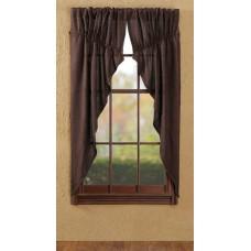 Burlap Chocolate Prairie Curtain Set