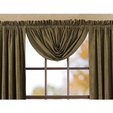 Tea Cabin Green Plaid Balloon Valance