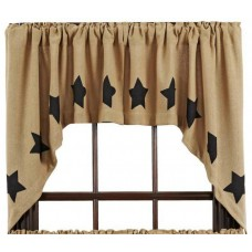Burlap Natural Black Stencil Stars Swag