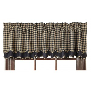 Black Check Layered Valance