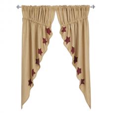 Burlap Burgundy Stencil Star Prairie Curtain Set