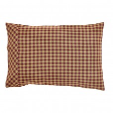 Burgundy Check Pillow Case Set
