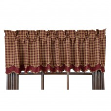 Burgundy Check Layered Valance