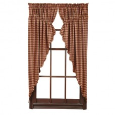 Burgundy Check Prairie Curtain Set