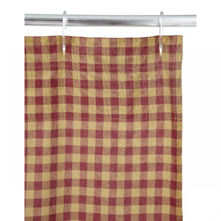 Burgundy Check Shower Curtain by VHC Brands