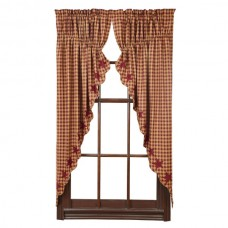 Burgundy Star Prairie Curtain Set