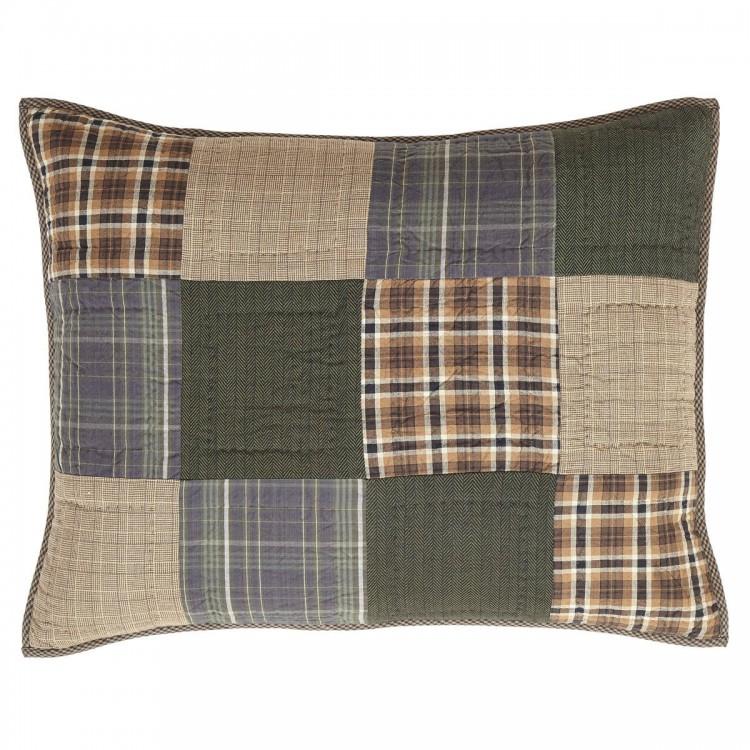3pc HENLEY King Quilt Set Rustic Primitive Brown//Blue//Tan Madras Patchwork