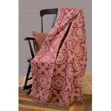 Medallion Woven Burgundy Throw
